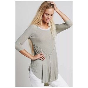 Free People Gray Thin Knit Long Sleeve Weekend Top